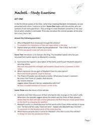 Macbeth Study Questions Answers Pdf English