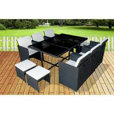 dining sets outdoor. mcombo 11 pcs luxury black wicker patio indoor outdoor dinner table furniture set 6089-0641 dining sets