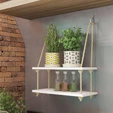 Também pode ser usado na sala ou quarto. Prateleira 2 Andares Madeira Corda Sisal Rustica Suspensa Estante Decorativa Plantas Quarto Cozinha Shopee Brasil