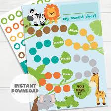 Printable Animals Reward Chart Kids Sticker Chart Instant Download Reward Chart Toddler Reward Chart Potty Training Chart