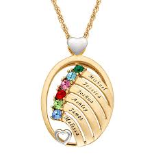 personalized planet jewelry personalized women s silvertone or goldtone two tone oval name and birthstone hearts pendant 18 2 com