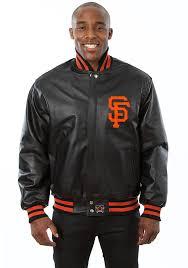 san francisco giants mens black all leather jacket heavyweight jacket image 1