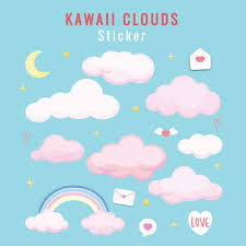 cute clouds set removable wall decals