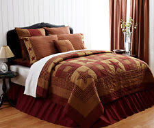 Star Quilts, Bedspreads & Coverlets | eBay & NINEPATCH STAR 3pc King QUILT SET : RED BROWN RUSTIC PRIMITIVE COMFORTER Adamdwight.com