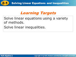 learning targets solve linear equations using a variety of methods