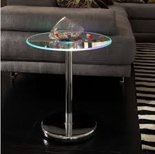 led lighted edge accent table round glass top chrome base end tables furniture