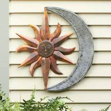 sun and moon wall decor amazing fascinating face metal outdoor art patio design regarding attractive mexican