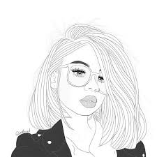 Outline Outlines Black And White Draw Drawing Tumblr Girl