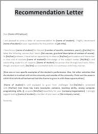 Student Recommendation Letter Example Format For Sample