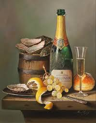 raymond campbell champagne indulgence original oil painting on panel
