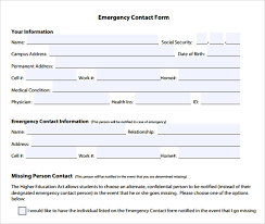 template for emergency contact information emergency contact form template word dattstar com