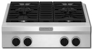 kitchenaid 30 built in gas cooktop stainless steel front standard