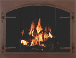 stoll fireplace glass door craftsman forged iron in weathered brown with arch conversion doors and strap