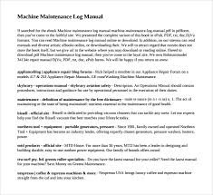 Machine Maintenance Log Template Sample Maintenance Log Template 9 Free Documents In Pdf