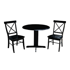Shop 36 Inch Dual Drop Leaf Dining Table With Two X Back Chairs In