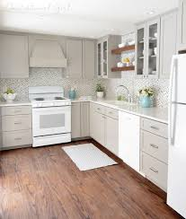 white kitchens with white appliances. Simple Kitchens Greige Kitchen Cabinets White Appliances Glass Tile Backsplash Inside White Kitchens With Appliances T
