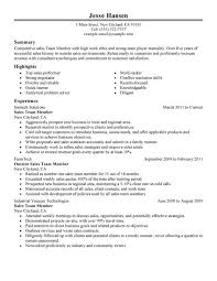 Team Member Resume Sample