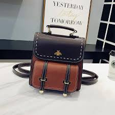 <b>Vintage Pu Leather Women</b> Backpack Simple Preppy Style ...