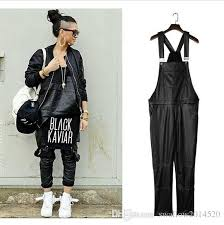 2019 new arrival fashion man women mens hiphop hip hop swag black leather overalls pants jogger urban clothes clothing justin bieber from swallow2016520