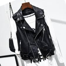 details about biker motorcycle jacket lapel waistcoat womens slim pu leather punk vest las