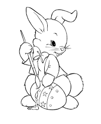 Easter Bunny With Flower And Egg Easy Easter Coloring Pages Animal