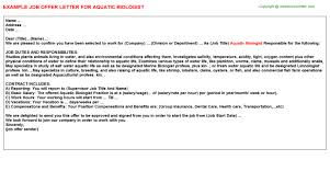 Aquatic Biologist Job Offer Letter | Offer Letters Templates ...