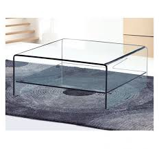 angola square clear glass coffee table with shelf