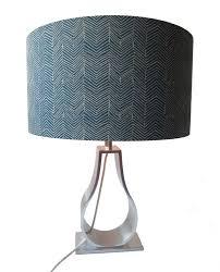 A Blue Beige Custom Made Chevron Lampshade Ikea Ildrid Collectionmetallic Effect Linerstyle Cylinderdrum Lampshadesshadetablelamp