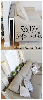 DIY Sofa Table for $25 using stair rails as legs. Makes it easy to ...