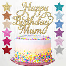 Custom Personalised Happy Birthday Mum Glitter Cake Topper Party