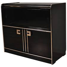 black art deco sideboard with sliding glass doors for