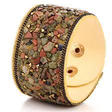 punk crystal wide leather bracelet