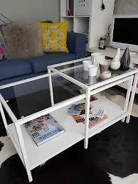 ikea white glass coffee side table nest