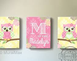 floral owl girls wall art custom personalized owl canvas art baby nursery owl canvas set owl print for nursery  on baby canvas wall art with owl canvas wall art baby girl owl nursery owl nursery decor
