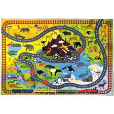 kc cubs multi color kids children bedroom playroom animal safari road map educational learning game