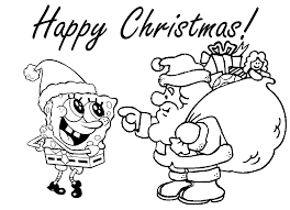 Santa Clause and Spongebob Coloring Page | Cartoon pages of ...