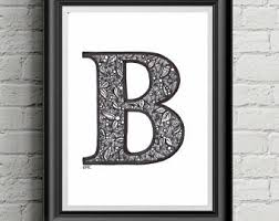 printable letter art letter b art floral letter art letter wall decor any letter available any font available digital download on wall art letter b with letter b printable etsy