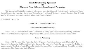 Limited Partnership Agreement Template Example Document For Limited Partnership Agreement
