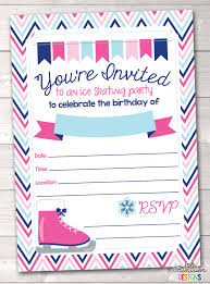 Online Printable Birthday Party Invitations Pink Ice Skating Party Printable Birthday Party Invitation