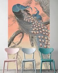 2 Pauwen Op Boomtak Kunst Op Behang