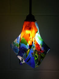 colorful fused glass pendant light