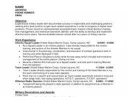 Marine Corps Resume Samples Infantryes Smart Ideas Military Template