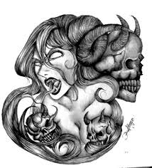 August 31 oga is first introduced as a strong fighter, beating up some classmates and then making them bow down to him because they had attacked him in his sleep, he is the main protagonist of the anime and manga beelzebub, but occasionally. Black And Grey Scary Demon Girl With Three Skulls Tattoo Design By Snacker57