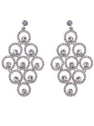 loading zoom czech crystal clear circular circle white engagement bridal chandelier earrings