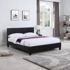 details about deluxe bonded leather bed platform bed frame with paneled headboard brown twin
