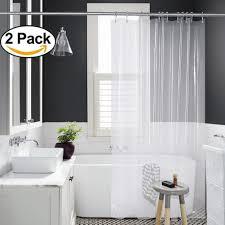 amazer peva 4g shower curtain liner pack of 2 with 12 rustproof grommets 3 heavy duty clear stones 72 x 72 mildew resistant waterproof odourless bathroom