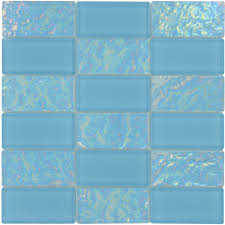 turquoise 2 x 4 glossy iridescent glass tile