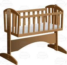 Antique Baby Cribs An Old Fashioned Rocking Baby Crib With Mattress Cartoon Clipart