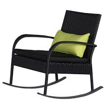 black outdoor wicker chairs. Outdoor 3 Piece Rocking Chair Set Wicker Rattan Bistro Furniture, Black Cushion With Chairs