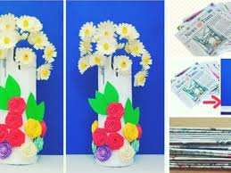 News Paper Flower Vase Paper Flower Vase With News Paper Best Out Of Waste Easy